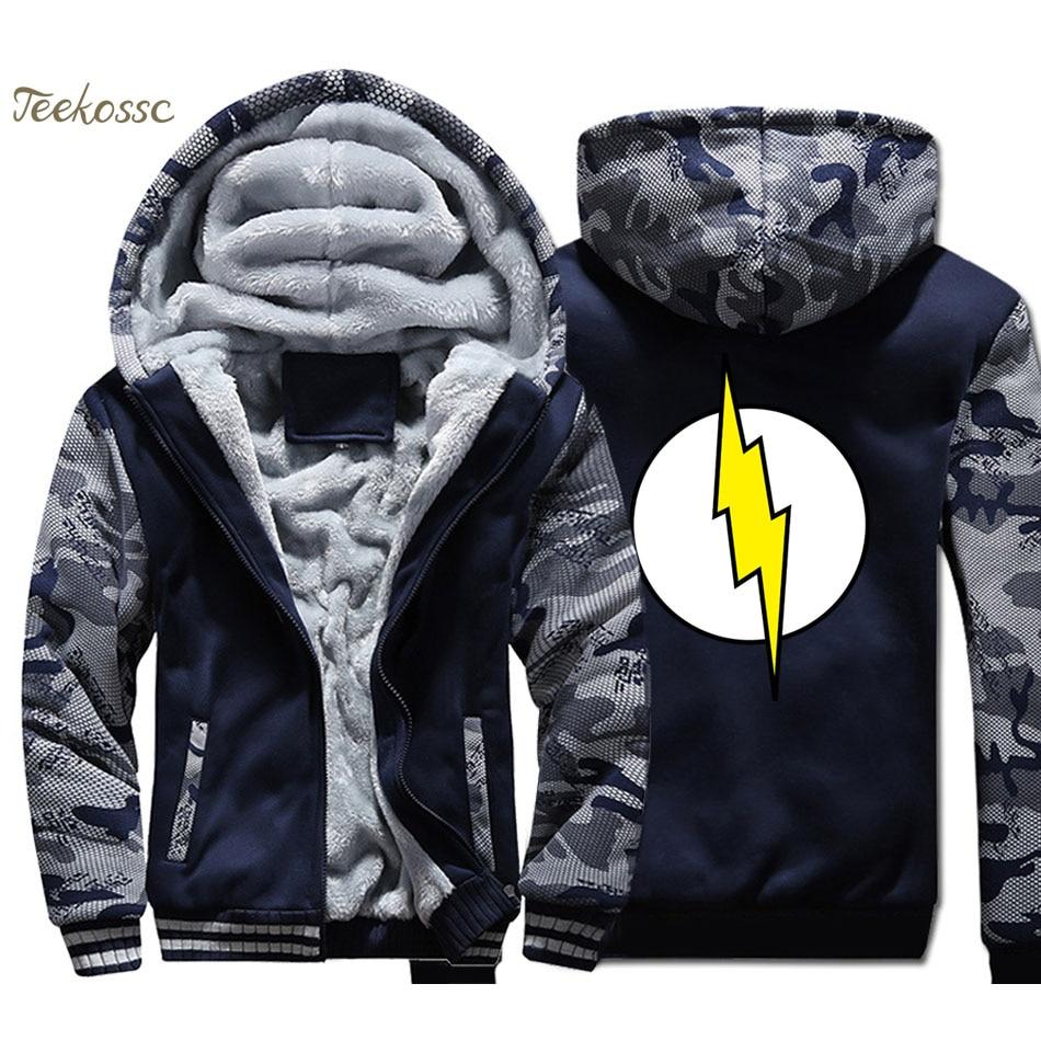 The Big Bang Theor Hoodies Men The Flash Sweatshirts Mens Winter Thick Fleece Warm Camouflage Jackets Casual Streetwear Coats