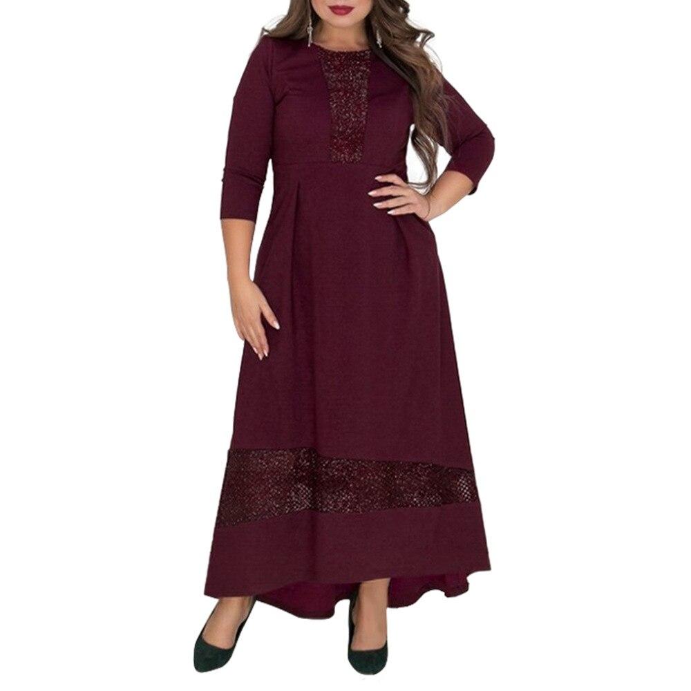 6XL плюс размеры Элегантные Осенние Вечеринка платье для женщин блёстки Длинные Макси платья ретро тонкий Пол Длина Vestidos