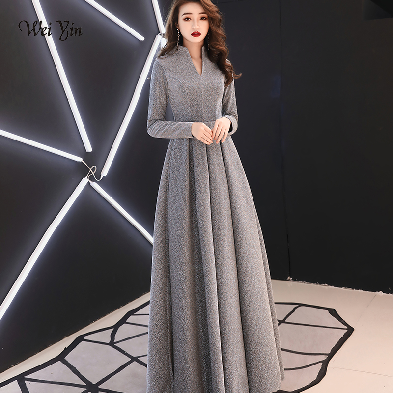 Weiyin 2019 Women Long Sleeve Evening Gowns Celebrity Dress Elegant Formal Long Dresses Satin A Line Evening Dresses WY1509
