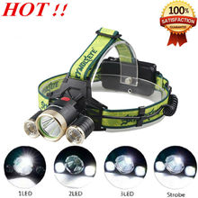 Hot Headlamp CREE XM-L T6 + 2 x R5 6000Lm LED Waterproof Headlight Rechargeable 4 Mode Head light For 2×18650 battery