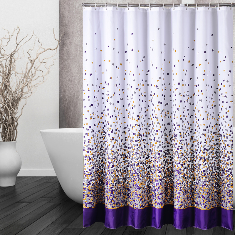 180X180CM Modern Designer Purple Waterproof Fabric Shower Curtains Bathroom Home Decor Mildew Free Metal Eyelets Washable 12Hook In From