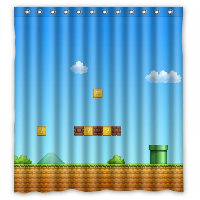 WARM TOUR Super Mario Shower Curtain Waterproof Polyester Bath Hospital Hotel With Hooks Ring