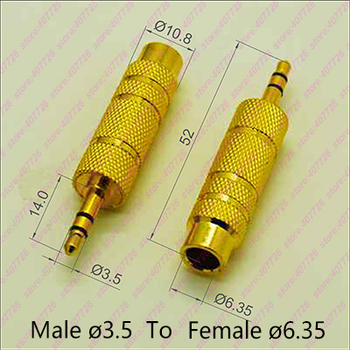 100PCS High Quality Gilded Audio Plug Connectors Male 3.5 To Female 6.35 Stereo Adapter Plug Headphone Adapter Plug Terminals