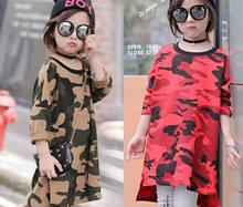 2016 Autumn New Girl Dress Long Sleeve Camouflage Loose Fashion Dress Children Clothing 7055 Only Have Dress