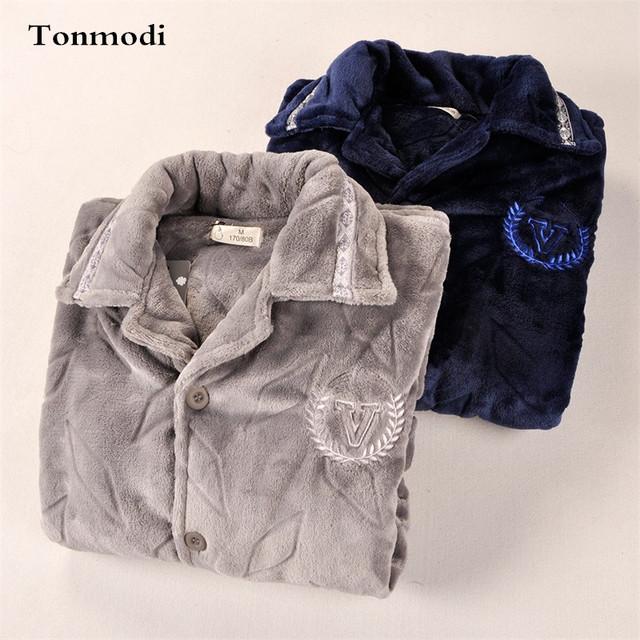 Pijamas para hombre ropa de Dormir de Franela térmica engrosamiento chaqueta de punto de coral polar de manga larga conjunto de Pijama más el tamaño