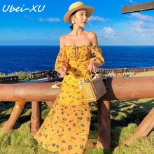 Ubei women fashion Off collar dress slim summer beach Thailand style print chiffon holiday