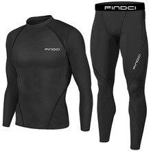 Findci Men Men Sports Apparel Skin Tights Compression Base Under Layer Shirts Pants SET