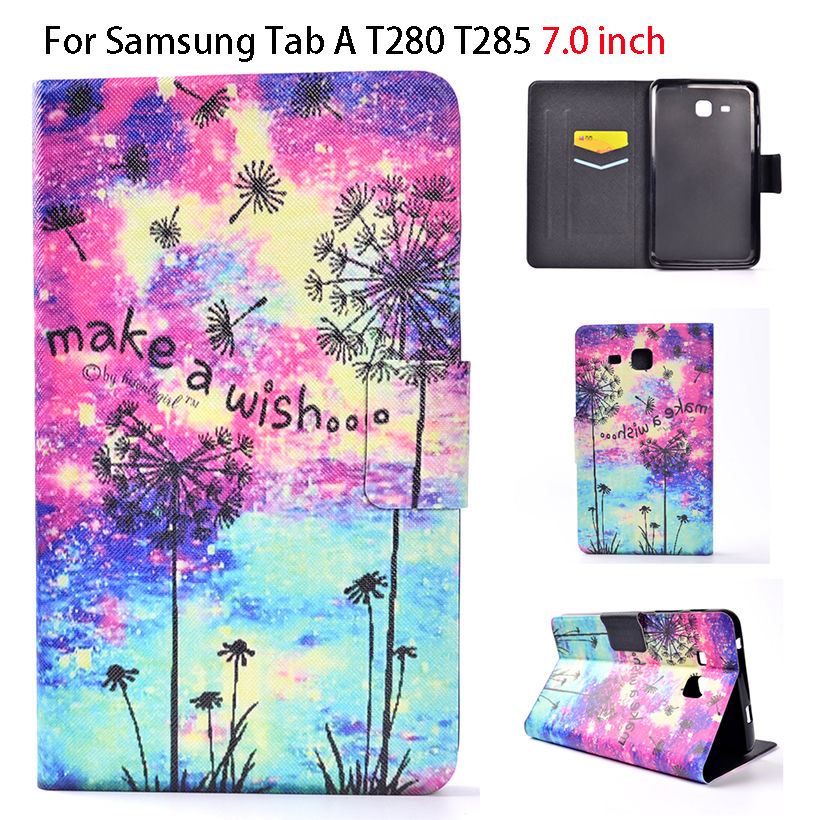 2016 Tab a6 7.0 Case For Samsung Galaxy Tab A 7.0 T280 T285 SM-T280 Case Smart Sleep Cover Tablet Print Flip Leather Funda Shell ultra slim leather funda case for samsung galaxy tab a 8 0 sm t350 sm t355 with magnetic smart cover case for samsung tab a 8 0