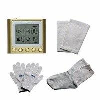 Magia strumento di sanità del corpo massaggiatore impulso elettronico schermo a led ricaricabile + 1 set guanti conduttivi ginocchiere calze e calzini