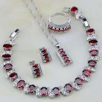 925 Joyería de Plata Esterlina de Cristal Rojo Blanco Circón Joyería De La Boda La Mujer Stud Pendientes/Collar/Pulsera/pendiente/Anillo