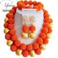 Laanc nigeriano boda perlas africanas joyería conjunto orange plástico perla oro hallazgo g002