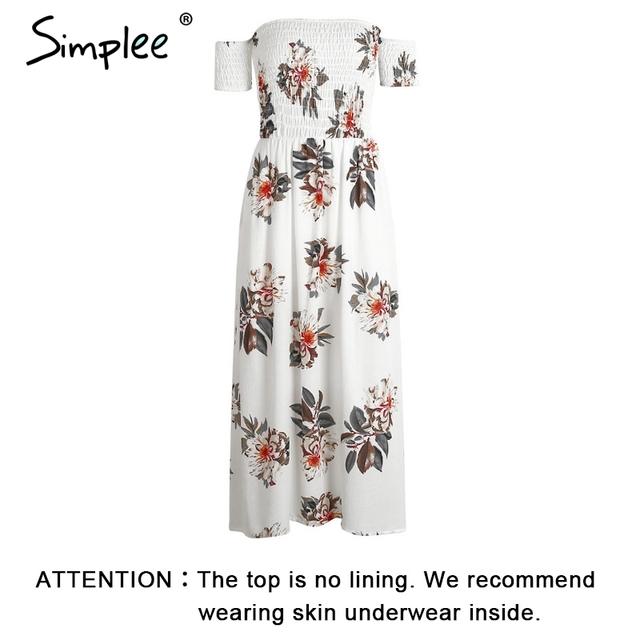 Simplee Boho off shoulder split summer dress Women vintage floral print chiffon maxi dress Sexy beach long dress vestidos