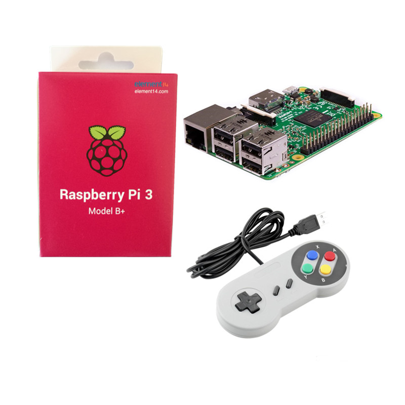 Original Raspberry Pi 3B+ 3 B Plus With Dual Frequency WiFi & Bluetooth Bulit-in 1.4GHz BCM2837B0 Chip + 2pcs Game ControllersOriginal Raspberry Pi 3B+ 3 B Plus With Dual Frequency WiFi & Bluetooth Bulit-in 1.4GHz BCM2837B0 Chip + 2pcs Game Controllers
