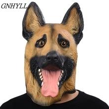 Dog mask Head Full Face Mask Halloween Masquerade Fancy Dress Party Cosplay Costume police Animal German Shepherd Latex Mask&&