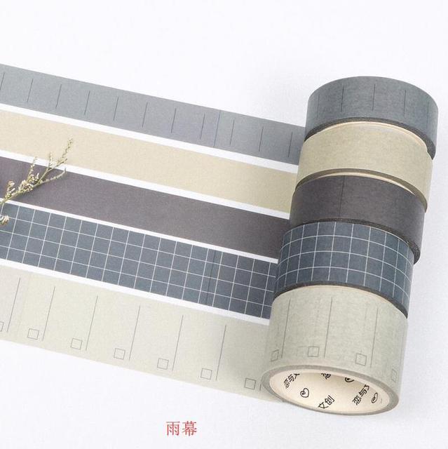 5 unids/set serie de geometría básica cuadrícula/línea/EN BLANCO/sarga decoración de color puro Washi cinta DIY diario scrapbooking cinta adhesiva