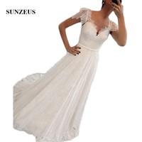 Cap Sleeve A Line Wedding Dresses Sweetheart Vintage Lace Summer Beach Bride Dresses Bohemia Wedding Gowns brautkleid SW27