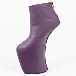 Image 4 - 女性 heelless プラットフォームブーツセクシーなラウンドつま先デザイン 2019 女性靴アンクルブーツファッションハイヒール大サイズ 36 46