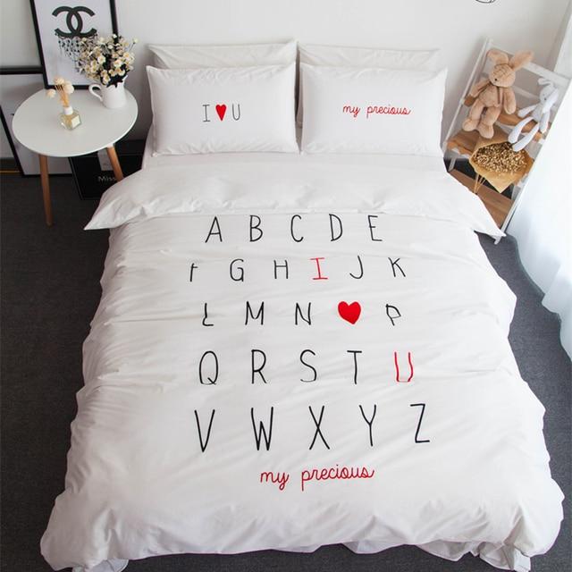 Us 9968 48 Off100 Baumwolle Englisch Wort Design Ich Liebe Sie König Königin Größe Bettwäsche Sets Duvet Abdeckung Blatt Set Kissenbezug