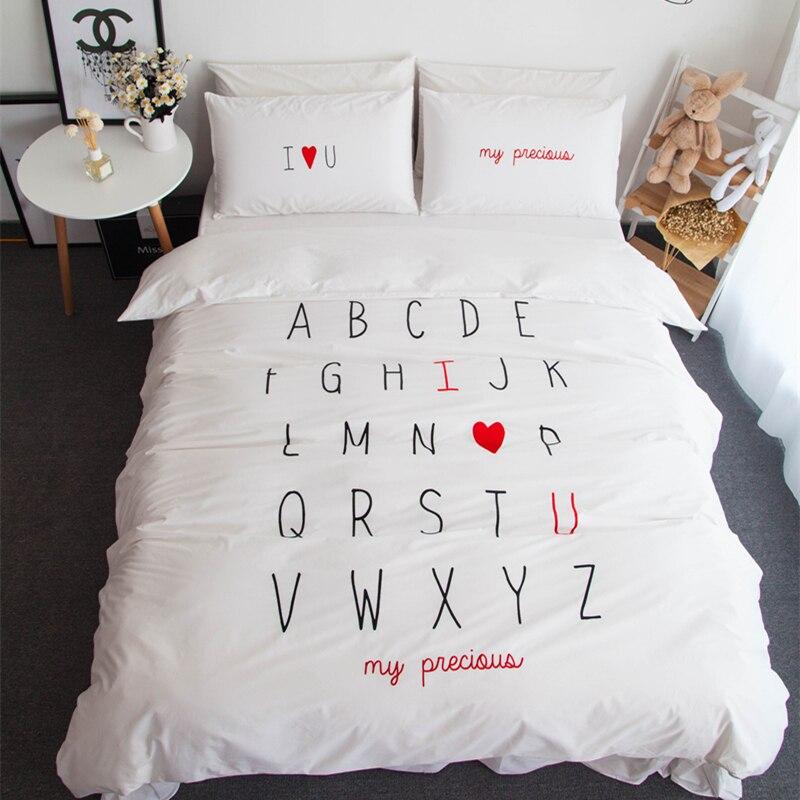 100% coton anglais mot design i love you roi reine taille ensembles de literie housse de couette ensemble taie d'oreiller cadeau de la saint-valentin