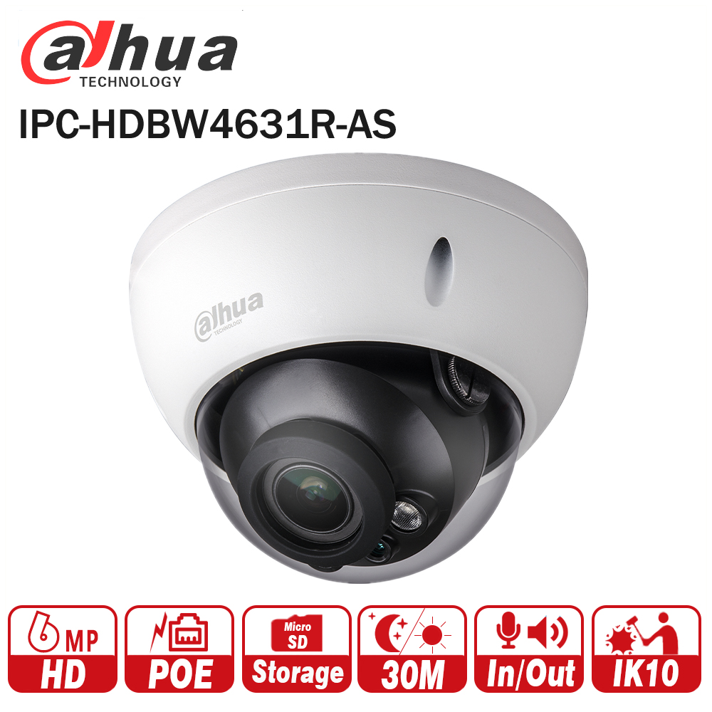 New Dahua 6MP Camera IPC-HDBW4631R-AS Upgrade from IPC-HDBW4431R-AS Support IK10 IP67 Audio &Alarm Port PoE Camera With SD Slot