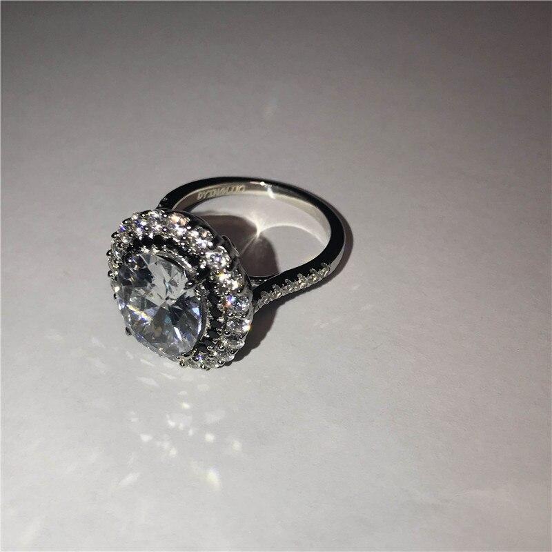 DYINGLUO 925 argent Sterling taille ovale cubique zircone noir Halo anneau de mariage promesse anneau cadeau argent bague de fiançailles pour les femmes - 4