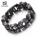 Kalen New Brushed Bike Chain Bracelet Cool Oxidized Dark Bicycle Chain Men Bracelet Fashion Male 316L Stainless Steel Hand Chain