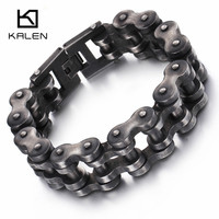 Kalen New Brushed Bike Chain Bracelet Cool Oxidized Dark Bicycle Chain Men Barcelet Fashion Male 316L