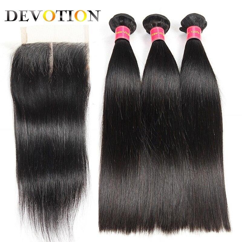 Devotion Hair Indian Straight Hair 3 Bundles with Lace Closure Human Hair Bundles with Closure Natural Color Hair Extensions