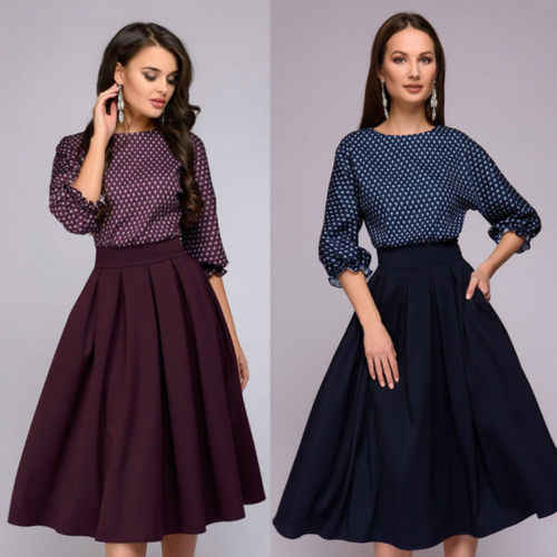 new arrival d6f6a 116f2 New Fashion Women Vintage Dress 50-60s Retro Style Polka Dot Rockabilly  Pinup Empire Dress Evening Party A Line Swing Dress
