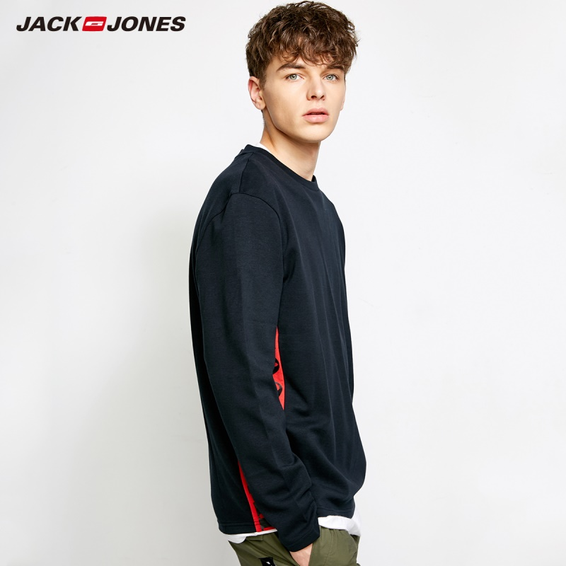 MLMR Men's Cotton Letter Printed   T  -  shirt   Solid Color Long Sleeve Leisure   T     shirt   Tshirt 2018 JackJones New Autumn Mens 218302504