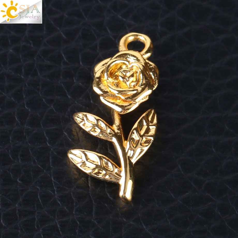 Able Csja Rose Flower Charms For Women Necklace Bracelet Jewelry Diy Making Copper Beads Gold Silver Color 10pcs/lot Wholesale S150 100% High Quality Materials Jewelry Findings & Components