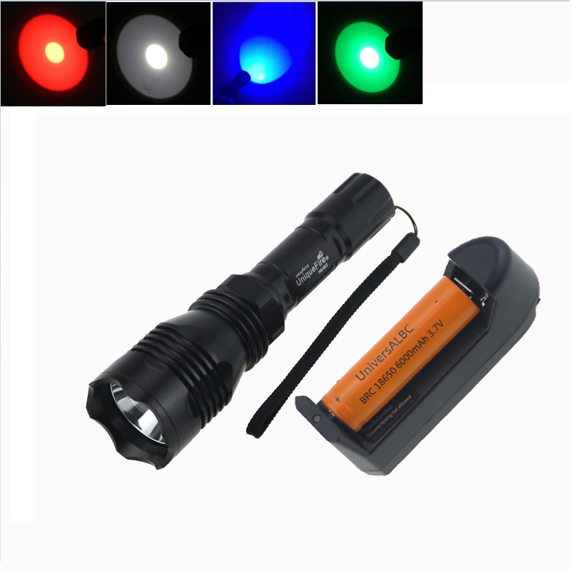 Tactical Hunting Led Flashlight UniqueFire HS-802 Cree Led green/red/blue/ White Light Bike Lamp Torch +18650 Battery+Charger