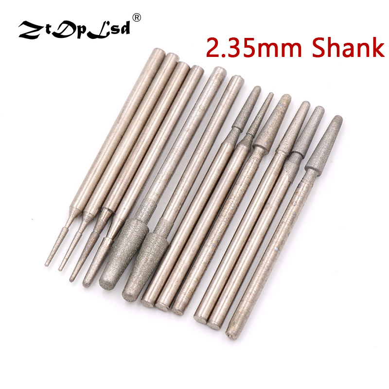 1PCS Grit 600/1200 Diamond Grinding Head 1-4MM Rotary Drill Bits Burrs Metal Stone Jade Engraving Carving Tools B Needle Burs
