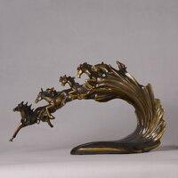 Винтаж китайский gallopping Верховая кластера Скульптура смолы фэн шуй Craft Интимные аксессуары украшение для Домашний декор и подарок на день ро