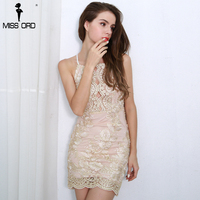 Missord 2017 Sexy Off Shoulder Hollow Out Women S Gold Thread Lace Embroidered Halter Backless Sexy