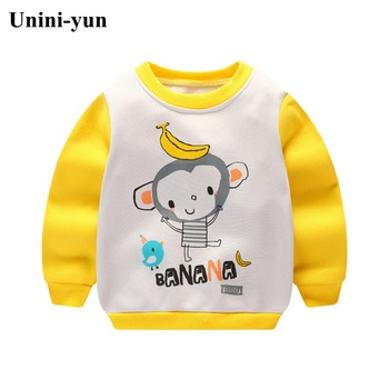 Infantil Baby Boys Roupas Hoodies Monkey Printed Sweatshirt Children's Pullover Outerwear Autumn Spring Fashion Tops T-shirt