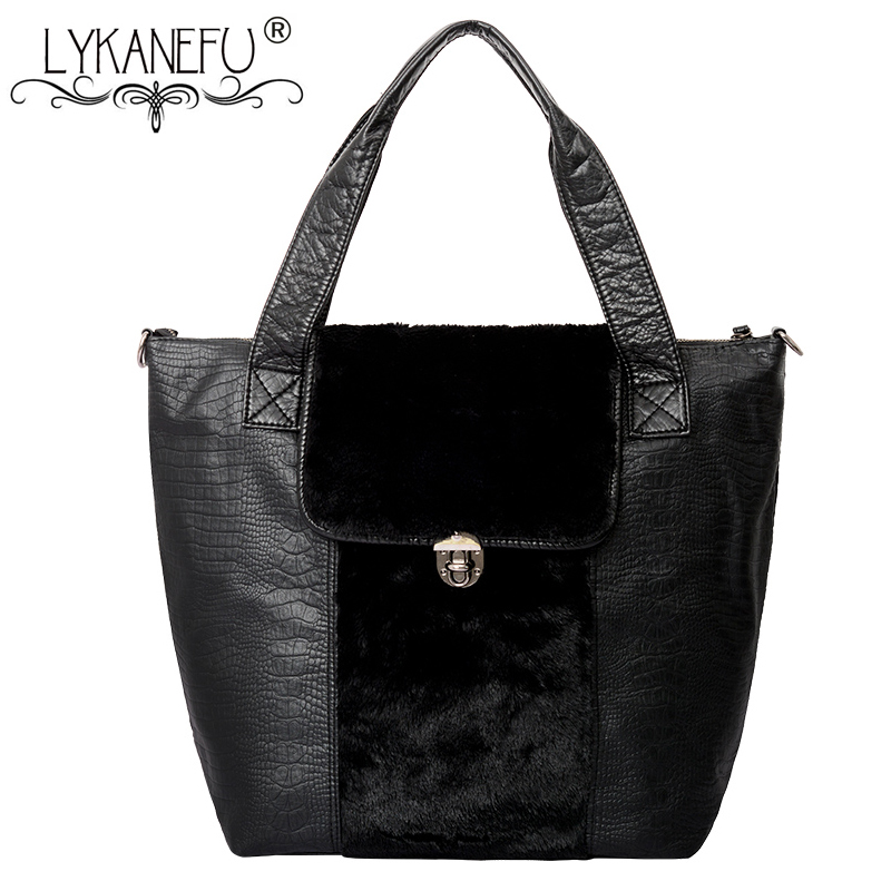 LYKANEFU 2018 New Luxury Handbags Women Bags Designer Winter Handbag Faux Fur Top Handle Women Tote Shoulder Bag Female