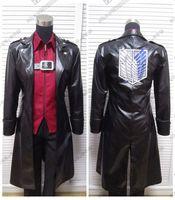 Anime Attack On Titan Cosplay Costume Long Leather Coat Shirt Pants Suit Original Design