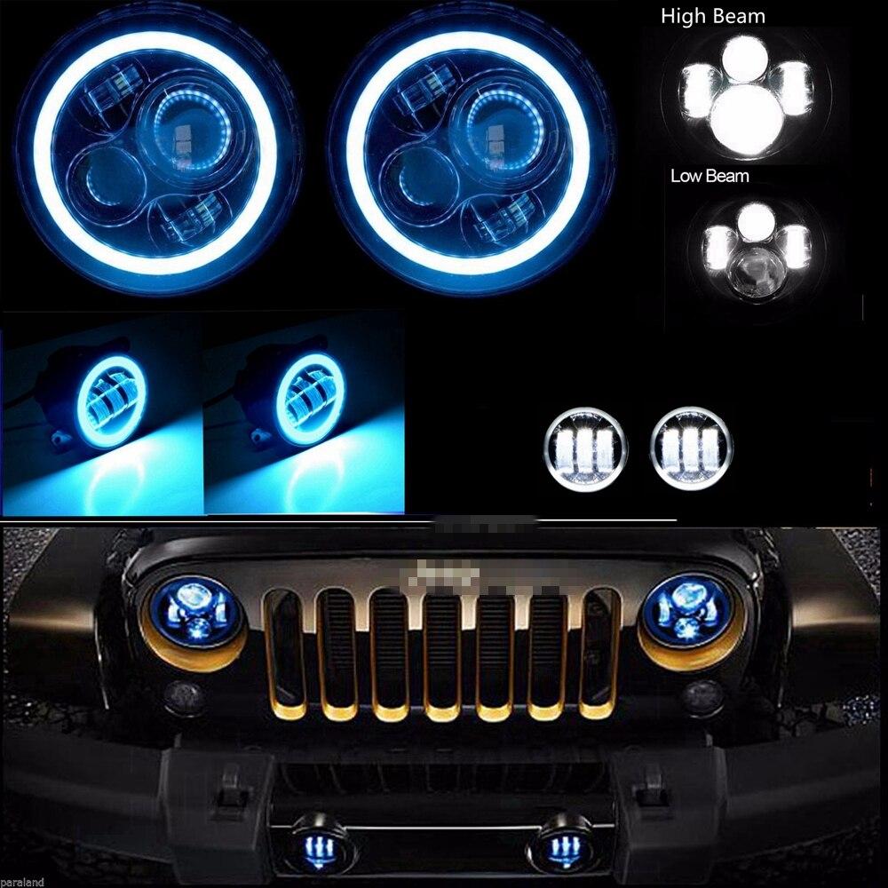 """""""7""""""""ДРЛ глаза Ангела 40 Вт светодиодный фары + 4"""""""" 30Вт Halo кольцо 30W светодиодные Противотуманные фары для джип Вранглер"""""""