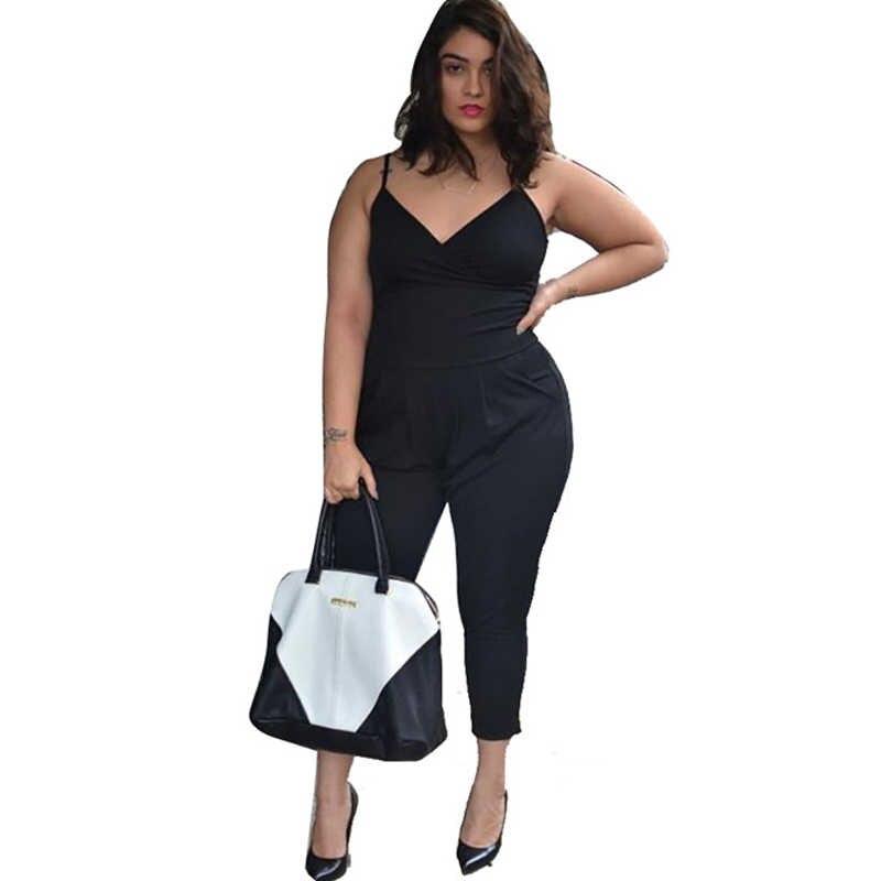 BHflutter mujer mono negro Sexy talla grande XXL 3XL 4XL 2017 Spaghetti Strap Casual verano monos mujer monos