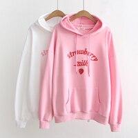 2018 New Women Hoodies Strawberry Milk Hoodie Cute Sweet Hooded Sweatshirts Pleated Cotton Pullovers Hoodies #A040