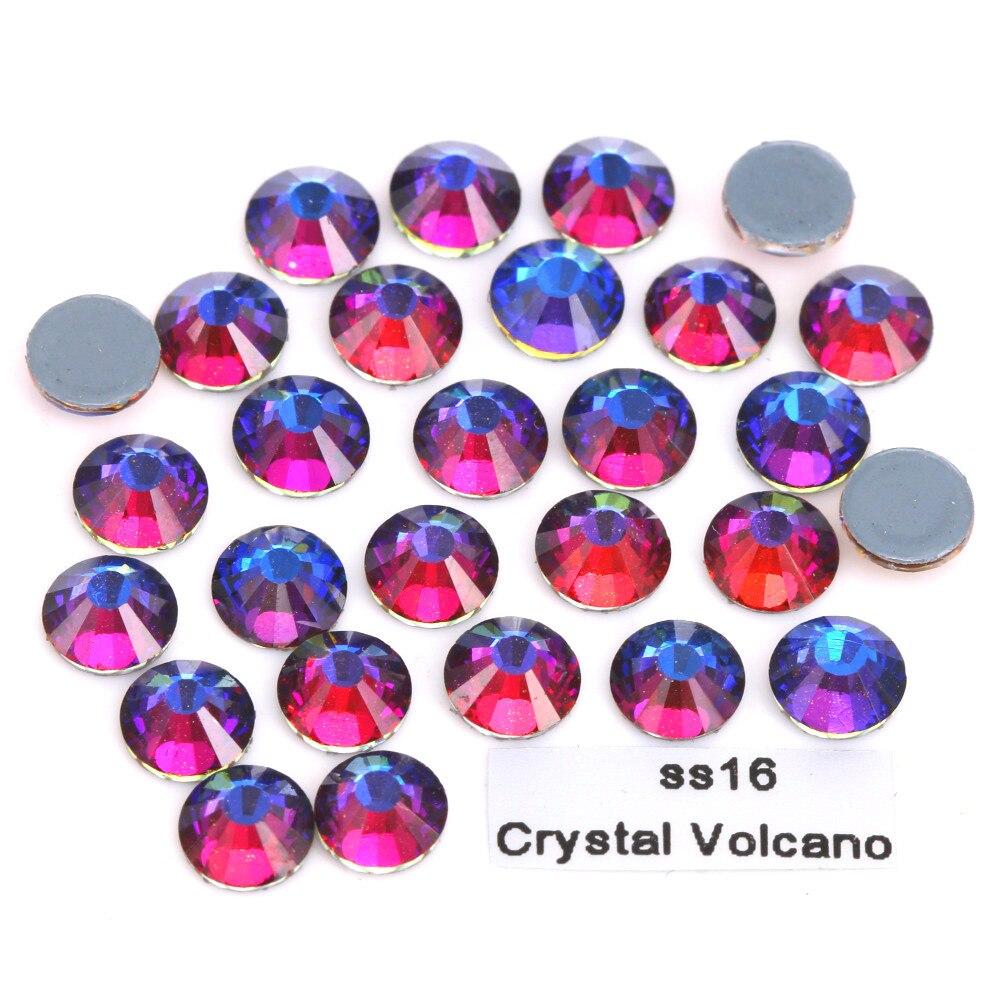 1440 Pcs Hoge Kwaliteit Ss16 (3.8-4.0mm) Kristal Vulkaan Hotfix Strass Plaksteen Hot-fix Rainbow Fire Rode Kleur Ijzer Op Stenen