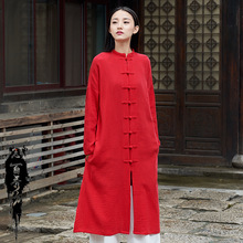 Spring Autumn 2019 Cotton Linen Women Spinning Original Frog Buckle Chinese Style Long Sleeve Coat Trench Cardigan FROG