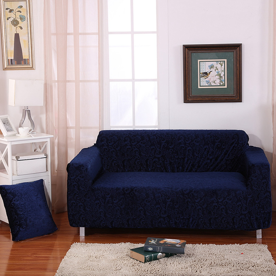 Navy Jacquard Stretch Furniture Covers For Home,multi Size Knitted  Universal Elastic Corner Sofa