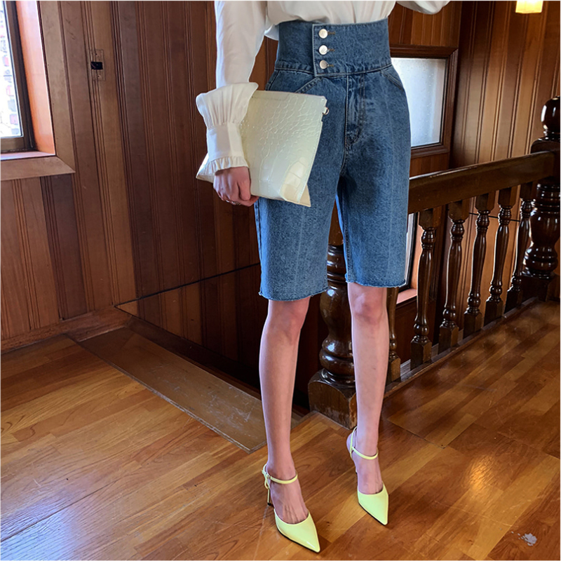 Vintage High Waist Single Breasted Women Denim   Shorts   Elegant Denim Blue Jeans   Shorts   Femininas 2019 Spring Summer