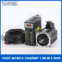 2.3KW AC Servo Motor 130ST M15015 15N.M 2500rpm 130ST AC Motor+Single Phase Motor Driver+3M Cable