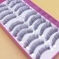1 caixa de 10 pares de Cílios Postiços Naturais Transparente Algodão Caules Grossos Cílios Postiços Maquiagem Ferramenta Acessório Cruz Cílios Falsos
