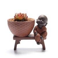 Collectible Chinese Handwork Mini Garden Creative Small Monk Cacti Succulent Plant Pot Flowerpot