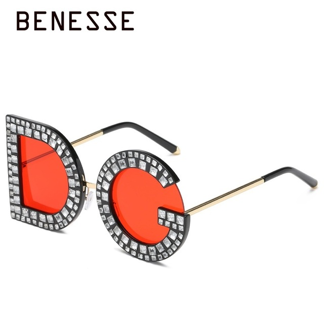 72a57f1ef3 Diamond D and G Round Sunglasses 2018 New Women Square Luxury Brand Crystal  Sun glasses Ladies