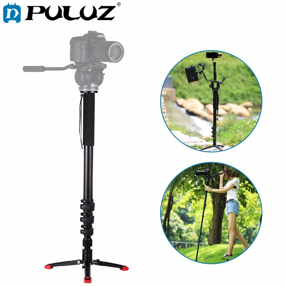 PULUZ For Camera Accessories Four-Section Telescoping Aluminum-magnesium Alloy Self-Standing Monopod with Support Base Bracket ruby r503 6 section retractable aluminum magnesium alloy monopod unipod black 175cm full length